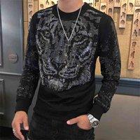 Футболки осень зима мода бренда футболка Homme персонализированная тенденция бурения тигра голова мужская тяжелая промышленность футболки мужчины
