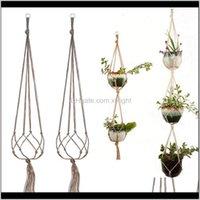 Planters Pots Supplies Patio, Lawn Home & Garden Drop Delivery 2021 Gardening Green Plant Hanger Flower Pot Net Bag Hemp Rope Hanging Basket