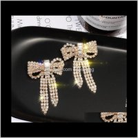 Drop Delivery 2021 Designer With Crystal Gold Bow Sweet Girl Stud Earrings Cz Diamond S925 Sier Needel Jewelry Wsf5Q