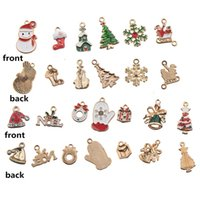 charms for christmas jewelry mixed pendants earring diy findings necklaces bracelets suspension epoxy snowman bell tree enamel gold metal woman man 60 pcs