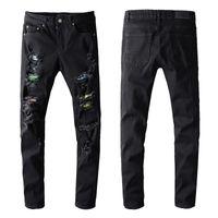 American Fashion высококачественный дизайн мотоцикл черный джинсы разорвал удобный тмин плюс тонкий подходит стримальный джинс