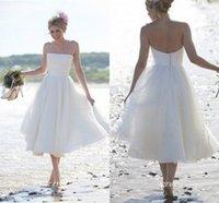 فساتين بيضاء صغيرة بوهو قصيرة حمالة الصيف شاطئ فستان الزفاف الشاي طول ثنائية عارية الذراعين ثوب الزفاف زائد الحجم رداء دي mariée