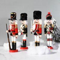 Christmas Decorations 2021 Est Wooden Nutcracker Doll Soldier Miniature Figurines Vintage Handcraft Puppet Year Ornaments Home Decor