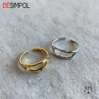 Cluster Rings Besimpol Genuine 925 Sterling Silver Simple Irregular Double Line Adjustable Ring For Women Fashion Fine Jewelry Gifts