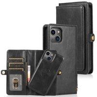 Portafoglio con portafoglio staccabile in pelle PU Magnetic 2in1 Custodie per telefoni rimovibili per iPhone 13 12 11 Mini Mini Pro Max Samsung S21 Nota20 Copertura Adeguata Adatta