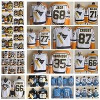 Moda Retro Pittsburgh Penguins Jersey 68 Jaromir Jeromir 35 Tom Barrasso 77 Paul Coffey 66 Mario Lemieux Negros Mens Black Hockey Jerseys