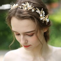 Hair Clips & Barrettes HIMSTORY Delicate Gold Leaf Women Prom Headpiece Hairband Pearl Bridal Tiara Headband Handmade Wedding Accessorie Jew