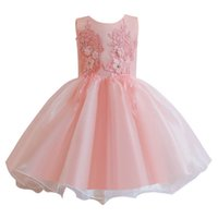 Girl's Dresses Girls Formal Clothes Children Clothing Lace Flower Pettiskirt Princess Party 1st Birthday Dress 0-5T B5268