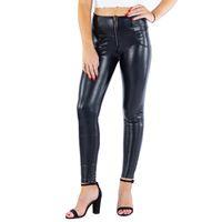 Кожаные леггинсы четыре способа растягивающиеся не животные высокой талии Йога добыча сжатия женщин спандекс леггинсы черные штаны