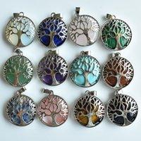 Natursten Rosa Purple Crystal Amethysts Lapis Alloy Tree of Life Pendants för örhängen Halsband Smycken