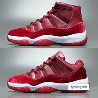 11 Velours Heirress Hommes Femmes Basketball Chaussures 11S Motif de fleurs Vin rouge Bordeaux Nuit Caron Entraîneurs en plein air Sneakers