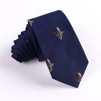 6 سنتيمتر الحيوان نمط الرقبة التعادل للرجال نحيل ربطة العنق العلاقات الزفاف البوليستر أسود ربطة قميص الملحقات مخصص شعار