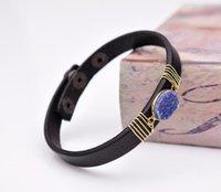Tennis Cute Natural Purple Druzy Cameo Elegant Black DIY Handcraft Leather Bracelet Cuff Wristband Bangle Unisex