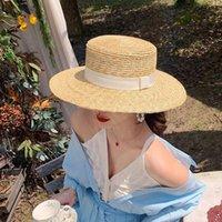 Summer Femelle Naturelle Blé Steide Straw Boater Fedora Top Chapeau Plat Femme Beach Beach Cap Raffia Soleil pour Jazz Panama Large Chapeaux