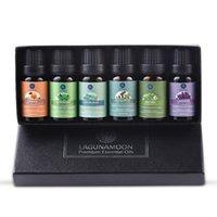Lagunamoon puro óleos essenciais 10ml 6 pcs conjunto de presente umidificador aromatherapy eucalipto papermint leongrass laranja chá árvore óleo