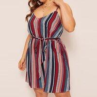 Plus Size Dresses Summer Fashion Chubby Women Stripe Print Camis V-neck Sleeveless Bandage Spaghetti Strap Dress