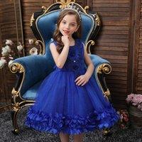Blume Mädchen Kleid Illusion Sleeveless Pearls Stickerei Spitze Appliques Kristall Oansatz Knielange Kinder Party Prinzessin Kleid F248 Girl's Dres