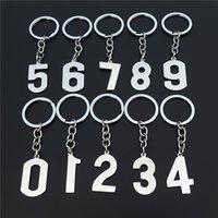 Breloczniki Kluczowe pierścień arabski numer stali nierdzewnej, liczba 0 1 2 3 4 5 6 7 8 9, Klucz i Lucky Mark of the Room