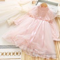 Girls beaded embroidery lace tulle dresses kids gauze falbala fly sleeve princess dress children ribbon Bows birthday party clothing Q2731