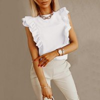 Women's Blouses & Shirts 40# Sleeveless Ruffle Blouse Women Summer Casual Loose O-neck Tank Tops Office Lady Solid Color Camisole For Blusas