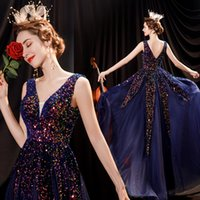 2021 Blue Starry Sky Bling Sequins Deep V Neck A-Line Evening Dresses Beaded Beading Sheath Prom Party Dress Elegant Sweety Princess Gown