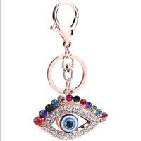 Rhinestone Evil Eye Keyring Keychain Turkish Blue Eyes Charm Bag Pendant Key Ring Holder Fashion Personality Metal Alloy Key Chains for Cars