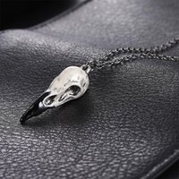 Pendant Necklaces AICSRAD Trendy 3D Raven Skull Necklace Magpie Crow Goth Jewelry Punk Gothic Halloween Zombie For Men Gifts