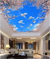 Wallpapers Custom Po 3d Ceiling Murals Wallpaper Cherry Blossoms Blue And White Doves Wall For Living Room Walls