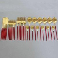 Conjuntos de Louça Conjunto Definir Refeição Dourada Vermelha e Matte Table Utensílios 304 Faca De Aço Inoxidável Faca De Faca De Café Colher Utensílios de Cozinha 30 J0525