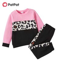 Patpat Llegada 2021 Patchwork de moda y otoño Patchwork 2pcs Niño Unisex Pantalones Pantalones Units Casual Leopard Sets Sets Ropa