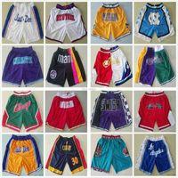 Tüm Takım Sadece Don Basketbol Şort Örgü Retro Spor Kısa Hip-Pop Cep Fermuar Ile Sweatpants Siyah Beyaz Mavi Kırmızı Yeşil Işlemeli Logolar Boyut S-XXL