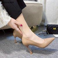 أحذية اللباس الفرنسية نمط صغير جديد عالية الكعب الخنجر الوظيفي العمل المرأة ارتداء الرسمي أسود واحد بسيطة السيدات مضخات