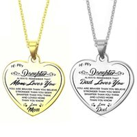 To my daughter stainless steel necklace heart pioneering heart pendant DAD MOM daughter gift