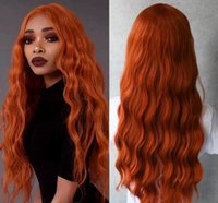 Peruca Cosplay Orange Ginger Color Lace Front Wig Loose Wave Synthetic Wig Glueless With Baby Hair Pre Plucked