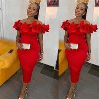 Elegant Evening Formal Dresses 2021 Charming Red 3D Floral Sheath Prom Party Gowns Off The Shoulder Zip Back Tea Length Arabic Summer Lady Dress 2022