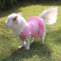 Primavera e verão filhote de cachorro cor sólida cão princesa vestido hem mini saia gato t-shirt vestuário
