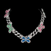 2021 SPRING NEW colorful diamond enamel butterfly charm cuban chain choker necklace for women
