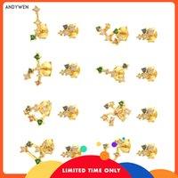 Andywen 925 Sterling Silver Piscis Gemini Zodiacs Stud Pendiente Aries Piercing Pendiente Mujeres Coloridas Spring Jewelry