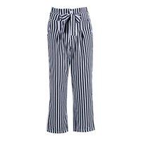 Women's Pants & Capris Fashion Women OL Pencil Trousers Skinny Stretch Slim High Waist Striped Wide Leg