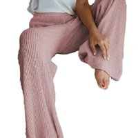 Women's Pants & Capris High Waist Solid Color Women Trousers Autumn Straight Wide Leg Knitted Ladies Ankle-Length