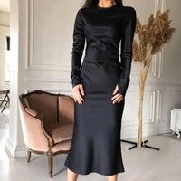 Sexy Satin Coll Color Slim Mid Платье Женщины О-Шеи С Длинным Рукавом Элегантная вечеринка Урожай мода Streetweart Westido 2021 Повседневные платья