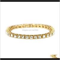 Link, Jewelrykimter Hip Hop Single Row 5Mm Diamond Chain Bracelets Gold Plated Full Crystal Tennis Chains Bracelet Bling Jewelry Q293Fz Drop
