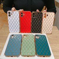 Lambskin 6D Electroplated Phone Cases Diamond lattice Full Lens Proction Soft TPU Case for iPhone 12 11 Pro Max XR XS X 7 8 Plus