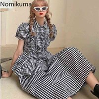 Nomikuma Black White Plaid Skirt Sets Puff Short Sleeve Pleated Blouse Tops + High Waist A-line Skirts Causal Women Outfit 6F976 210427