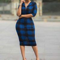2020 Europeo vintage moda stampa donna vestito vestito stretto sexy griglia vestito ufficio signora moda donne vestiti blu vestiti plus size cocktail dresse j9ks #