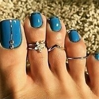 3PCS Silver Toe Rings Set for Beach Sexy Body Jewelry for Women 2239 Q2