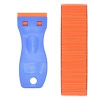 블루 핸들 스크레이퍼 오렌지 플라스틱 블레이드 면도기 접착제 필름 스티커 제거 청소 도구 도매