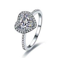 Forma coração promessa amor 2ct anel de diamante para mulheres platina sólida PT950 branco capa de casamento de ouro fine jóias anéis de cluster