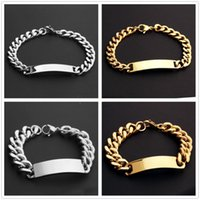 10mm 15mm Fashion Stainless Steel Silver Color Gold ID Tag Cuban Link Chain Men's Bracelet Bangle 8.66inch 9inch Wholesale Link,