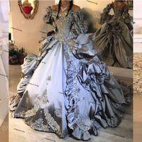 Fantasy Prinzessin Gothic Abendkleider mit langen Ärmeln von der Schulter Spitze Hallowmas Silber Prom Kleid Vestidos de 15 Año